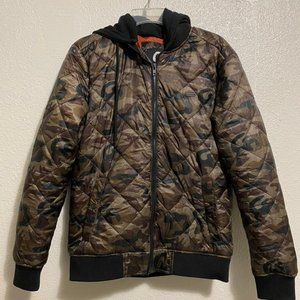 Guess Camouflage Puffer Jacket with Black Hood